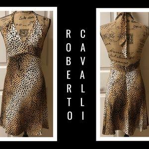 Roberto Cavalli Animal Print Backless Swing Dress